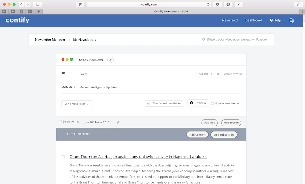 Contify newsletter builder to create and distribute market updates and competitor updates through custom newsletters to internal and external stakeholder